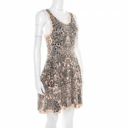 Alexander McQueen Bicolor Jacquard Knit Sleeveless Fit and Flare Dress M 178555