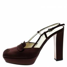 Prada Brown Satin Platform Block Heel Loafer Sandals Size 39.5