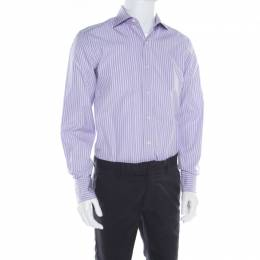 Tom Ford Purple and White Striped Cotton Long Sleeve Button Front Shirt L 182251