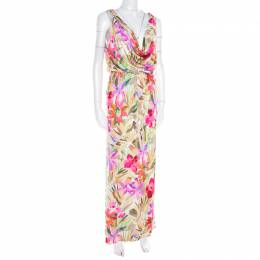 Blumarine Multicolor Floral Printed Silk Jersey Draped Sleeveless Maxi Dress S