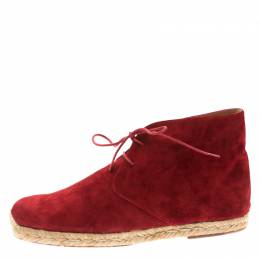 Christian Louboutin Red Suede Cadaques Espadrille Desert Boots Size 41 185318