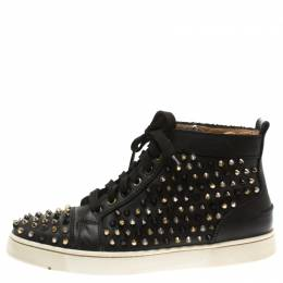Christian Louboutin Black Leather Louis Spikes High Top Sneakers Size 41.5 185852