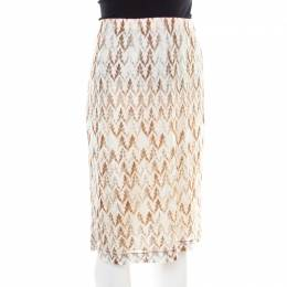 Missoni Pink and Brown Perforated Knit Elasticized Waist Skirt L 185581
