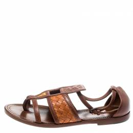 Bottega Veneta Brown Intrecciato Gladiator Sandals Size 36.5 193283