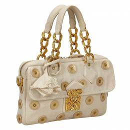 Louis Vuitton	 White Canvas Limited Edition Polka Dots Panama Tinkerbell Bag