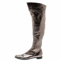 Sergio Rossi Metallic Grey Leather Knee Length Boots Size 39 194862