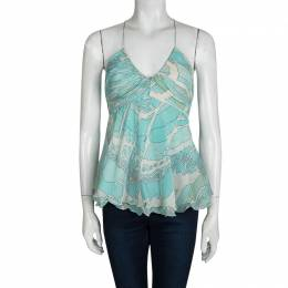 Emilio Pucci Blue Printed Silk Ruched Sleeveless Y Back Top S 95598