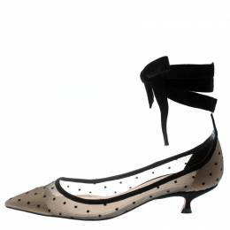Dior Black Mesh And Suede Lovely D Polka Dot Ankle Wrap Pointed Toe Pumps Size 37