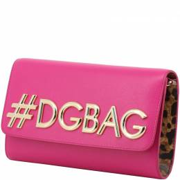 Dolce and Gabbana Pink Leather DG Girls WOC Clutch Bag 199277