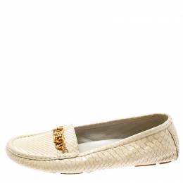 Gucci Cream Python Leather loafers Size 38.5