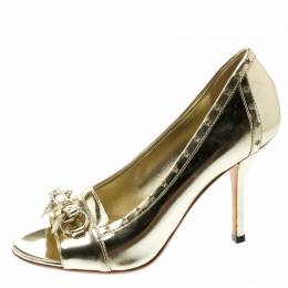 Gucci Metallic Gold Leather Horsebit Star Bow Peep Toe Loafer Pumps Size 36