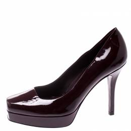 Gucci Burgundy Patent Leather Tile Square Toe Platform Pumps Size 36
