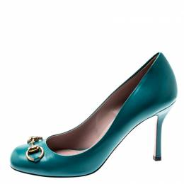 Gucci Turquoise Leather Jolene Horsebit Pumps Size 37