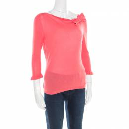 Red Valentino Pink Knit Bow Detail Long Sleeve Top M 183610