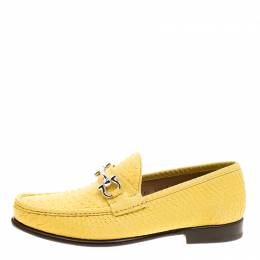 Salvatore Ferragamo	 Yellow Python Mason Loafers Size 43