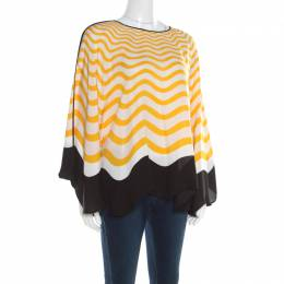 Fendi Yellow and Off White Wave Printed Silk Contrast Bow Trim Detail Kaftan Top M 194172