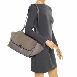 Celine Grey Croc Embossed Leather and Suede Medium Trapeze Bag 197141