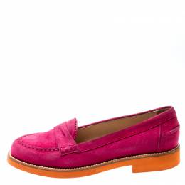 Tod's Fuchsia Pink Suede Penny Loafers Size 37.5 Tod's