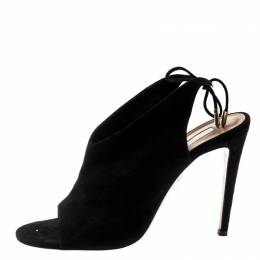 Aquazzura Black Suede Sexy Thing Open Toe Ankle Wrap Sandals Size 39.5 198866