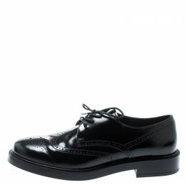 Tod's Black Leather Brogue Lace Up Derby Size 36.5 Tod's