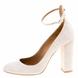 Aquazzura Grey Suede Alix Ankle Strap Block Heel Pumps Size 38