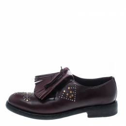 Burberry	 Burgundy Studded Leather Ampney Fringe Detail Derby Size 37.5