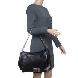 Celine Metallic Black Leather Shoulder Bag