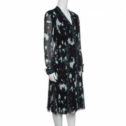 Proenza Schouler Black Printed Silk Pleated Long Sleeve Dress S 141684