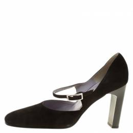 Gucci Black Suede Mary Jane Pumps Size 37.5 140072