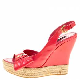 Louis Vuitton Pink Patent Leather Peep Toe Espadrille Wedge Slingback Sandals Size 37 140018