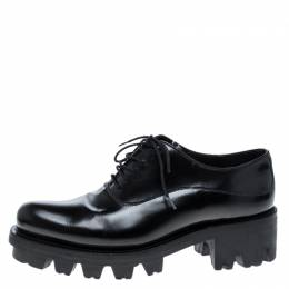 Prada Black Leather Lug-Sole Platform Oxfords Size 37.5