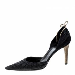 Gucci Black Suede Pointed Toe Bow Detail D'orsay Pumps Size 37.5