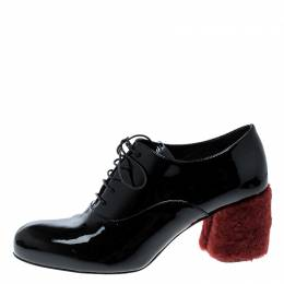 Miu Miu Black Patent Leather Red Shearling Fur Heel Oxfords Size 37