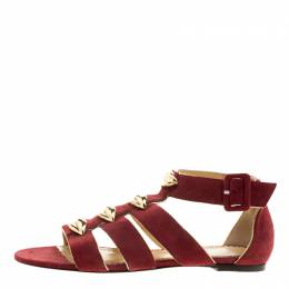 Charlotte Olympia Red Suede One More Kiss Sandals Size 36 134418