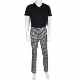 Etro Monochrome Gingham Checked Wool Panama Slim Fit Trousers L 135339