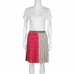Marc by Marc Jacobs Multicolor Graphic Print Pleated Silk Skirt S 136366