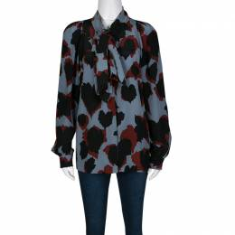 Gucci Abstract Leaf Print Neck Tie Detail Long Sleeve Silk Blouse S 136415
