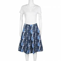 Oscar de la Renta Blue and White Printed A-Line Inverted Pleat Skirt S 136468
