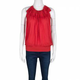 Lanvin Red Knit Ruffle Detail Halter Top S 131975