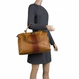 Fendi Tan/Brown Ombre Leather with Calfhair Lining Large Peekaboo Top Handle Bag 125601