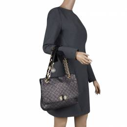 Lanvin Metallic Grey Quilted Ceramic Effect Leather Happy Shoulder Bag 119394
