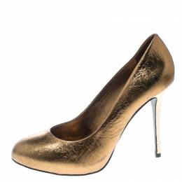 Tory Burch	 Metallic Bronze Crackled Leather Jenna Pumps Size 41