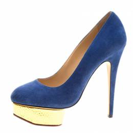 Charlotte Olympia Blue Suede Dolly Platform Pumps Size 39.5