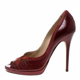 Jimmy Choo Red Embossed Lizard Patent Leather And Suede Trim Peep Toe Platform Pumps Size 40 162733