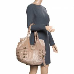 Jimmy Choo Gold Perforated Leather Bardia Buckle Shoulder Bag 163490