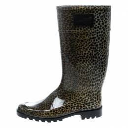Dolce and Gabbana Animal Print Rubber Boots Size 41 166249