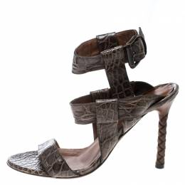 Bottega Veneta Brown Alligator Leather Ankle Strap Sandals Size 37.5 166362