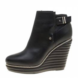 Enio Silla For Le Silla Black Leather Quilted Wedge Ankle Boots Size 40 166222