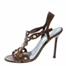 Sergio Rossi Brown Python Embossed Leather Studded Sandals Size 37.5 166451
