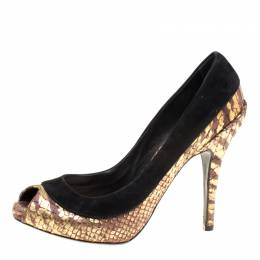 Dior Black/Gold Suede and Python Embossed Leather Peep Toe Pumps Size 35.5 Christian Louboutin